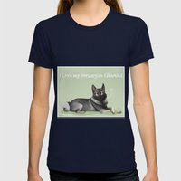 Norwegian Elkhound Womens Fitted Tee Navy SMALL