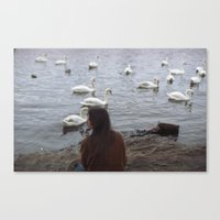 WOMEN AND SWANS Canvas Print