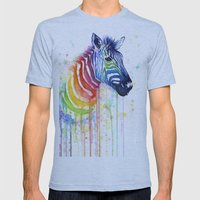 Zebra Rainbow Watercolor Mens Fitted Tee Athletic Blue SMALL