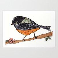 Orange bird Art Print