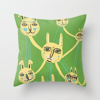 Connected Rabbits Throw Pillow