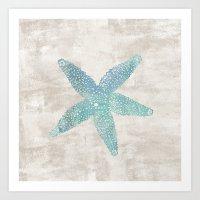Aqua Starfish Art Print
