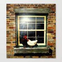 Roosters on a ledge  Canvas Print