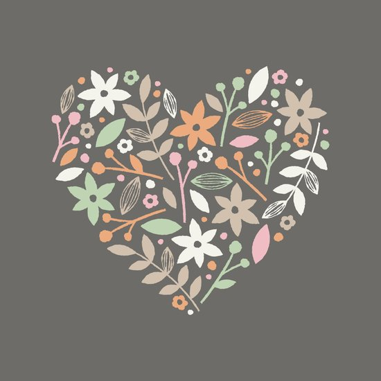 Floral Heart - in Charcoal Canvas Print