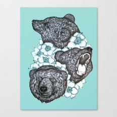 Minty Bears In Bears Canvas Print
