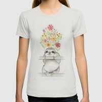Le Sloth Womens Fitted Tee Silver SMALL