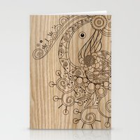 Tangle on wood Stationery Cards