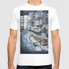 Time square - New York City - Illustration watercolor painting Mens Fitted Tee SMALL White