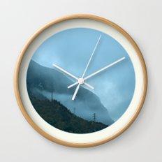 Blue Misty Mountains Wall Clock