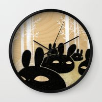 Suspicious Bunnies Wall Clock