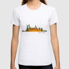 New York City Skyline Hq… Womens Fitted Tee Ash Grey SMALL