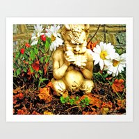 Mystical Flowers and Statue Art Print