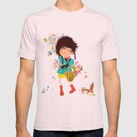 Emma Picking Flowers Mens Fitted Tee Light Pink SMALL