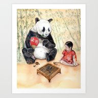 Art Print featuring Playing Go With Panda by Goosi