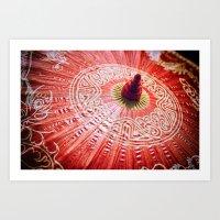 Red Silk Chinese Umbrell… Art Print