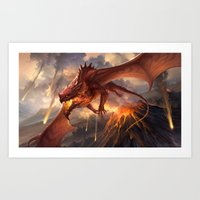 Red Dragon v2 Art Print