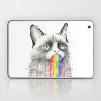 Grumpy Rainbow Cat Watercolor Laptop & iPad Skin