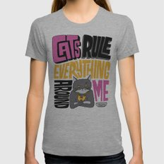 C.R.E.A.M. Cats Rule Everything Around Me Womens Fitted Tee Athletic Grey SMALL