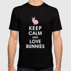 Keep Calm and Love Bunnies Black Mens Fitted Tee SMALL