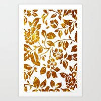 Gold flowers Art Print