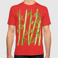 Bamboo Pattern Mens Fitted Tee Red SMALL