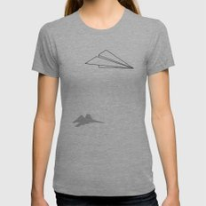 Paper Airplane Dreams Womens Fitted Tee Athletic Grey MEDIUM
