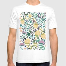 Flower Pattern White Mens Fitted Tee SMALL