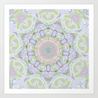 Pastel Mandala Kaleidoscope  Art Print