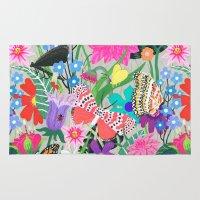 Butterflies and Moths Pattern - Grey Rug