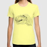T-rex Dinosaur B&W Womens Fitted Tee Lemon SMALL