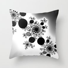 black and white fractal Throw Pillow
