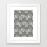 White on Grey Lace Framed Art Print