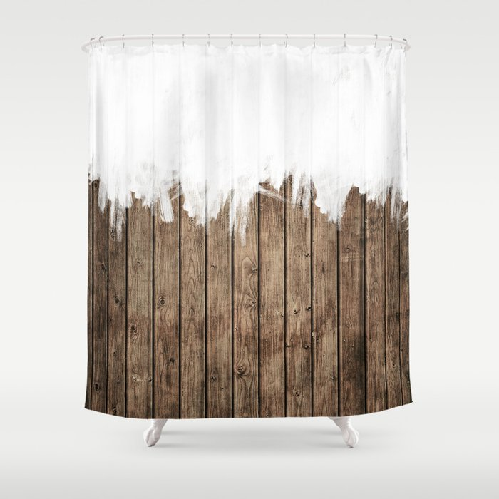 White Abstract Paint on Brown Rustic Striped Wood Shower Curtain by ...