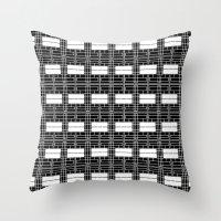 Black and White Brick Throw Pillow