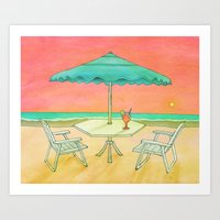 Beach Drink Art Print