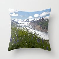 Glacial Flowers Throw Pillow