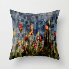 Champ de Tulipes Mosaïque Throw Pillow