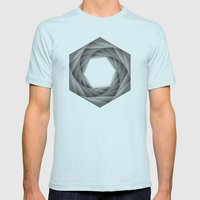 STIPPLE HEXAGON Mens Fitted Tee Light Blue SMALL