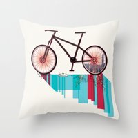 Discover Hong Kong Bicycle Throw Pillow