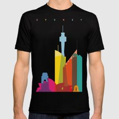 Shapes of Sydney. Accurate to scale Black SMALL Mens Fitted Tee