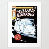 Silver Surfbus Art Print