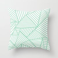 Abstract Lines Close Up Mint Throw Pillow