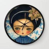 Frida In A Blue And Cream Dress Wall Clock