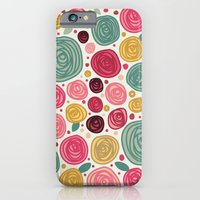 iPhone Cases featuring Rose Pattern by Cina Catteau
