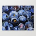Blueberries - Still Life In Acrylics Original Fine Art  Canvas Print