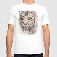 White Tiger 909 SMALL White Mens Fitted Tee