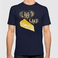 I'll finish you like cheesecake Mens Fitted Tee Navy SMALL