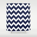 Chevron Navy Blue Shower Curtain
