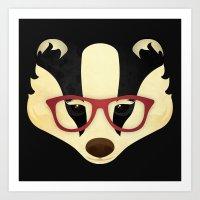 Hipster Badger Art Print