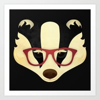 Hipster Badger Art Print